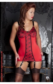 NDB66 Vintage Style Red Corselette